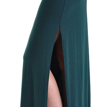 Solid Slit Maxi Long Skirt with Foldable Waistband