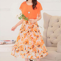 Orange Floral Print Paneled Elastic Waist Midi Dress