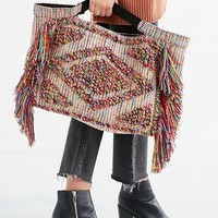 Textured Multicolored Fringe Tote Bag | Urban Outfitters