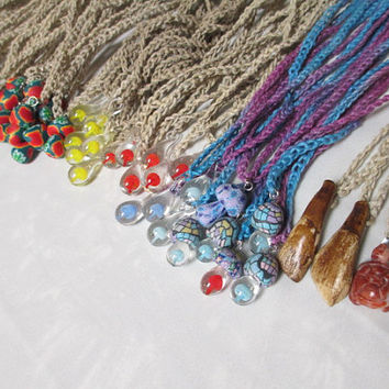 Hemp Necklaces Mushroom WHOLESALE - Custom lot of 10 - You Choose Colors, Pendants,
