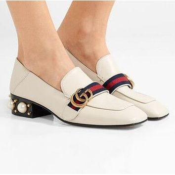 GUCCI Fashionable Women Leather Stripe Rivet Pearl Sandals High Heels Shoes White
