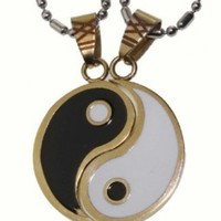 R.H. Jewelry Mens Womens Lovers Couple Stainless Steel Yin Yang Two Piece Pendant Necklace Set