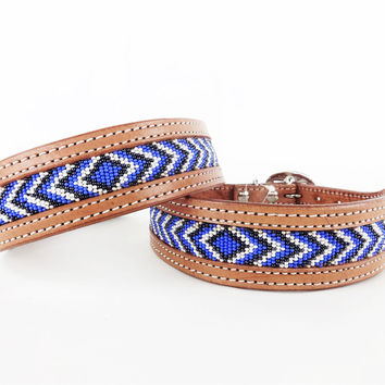 Handcrafted & Hand Beaded Najavo Western Style Leather Dog Collar