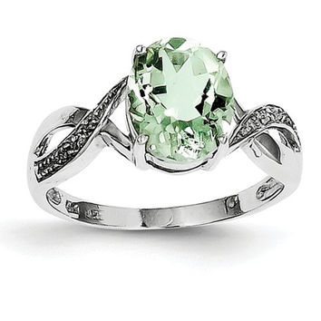Sterling Silver Oval Prasiolite & Diamond Ring