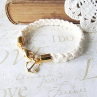 KNOTTY v.1 braided nautical rope bracelet with anchor charm (gold or silver)