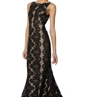 alice + olivia | JAE SLEEVELESS KEYHOLE OPEN BACK LONG GOWN