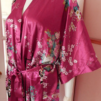 Fabulous Asian Pink Silk Floral kimono / Apple Blossom Flower Robe, Vintage Clothing One Size