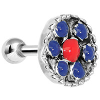 925 Silver Antiqued Red Blue Tragus Cartilage Earring | Body Candy Body Jewelry