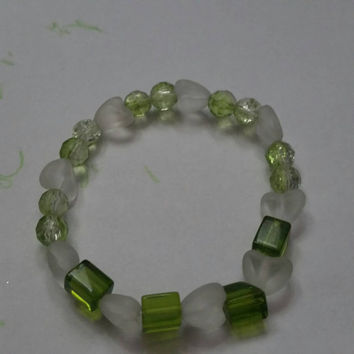 Glass Green and Frosted White Stretch Wrist Bracelet Shades of Green Spring Colors