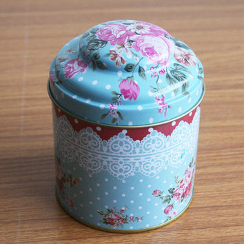 Retro Sealed Blue Pink Rose Flower Kitchen Coffee Tea Sugar Container Jar Tin Metal Can