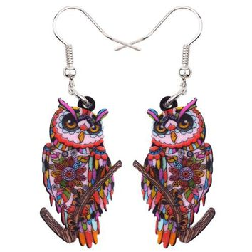 Big Acrylic Stud Drop Dangle Owl Bird Long Earrings New Fashion Animal Jewelry For Women Girls Bijoux Accessories