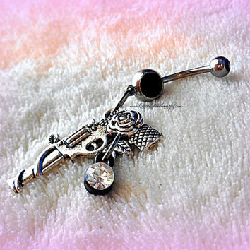 Gun and Roses Belly Ring, Belly Button Ring, Navel Ring, Hipster, Cool, Ready to Ship