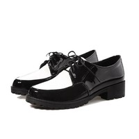 Charm Foot Fashion Womens Low Heel Lace up Casual Oxfords Shoes (4.5, Wine Red)
