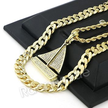 HIP HOP ICED OUT Lil YACHTY CHARM ROPE CHAIN DIAMOND CUT CUBAN CHAIN NECKLACE G67