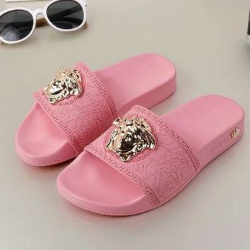 "Hot Sale ""Versac"" Fashion Women Men Casual Beach Home Sandals Slipper Shoes Pink I-ALS-XZ"