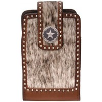 3D Brown Leather Hair On Star Concho Large Smartphone Cell Phone Case