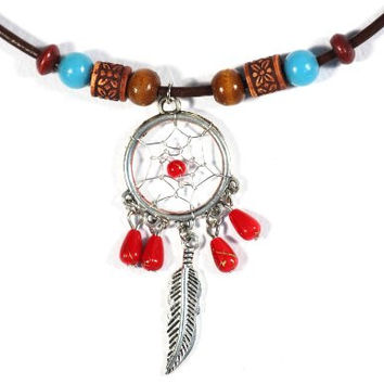 Dreamcatcher Necklace Red Turquoise Beaded Silver Tone Feather Leather NO01 Native American Style