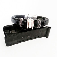 Black Leather Bracelet, Silver Black Leather Bracelet, Black Bracelet, Silver Leather Bracelet, Silver Bracelet