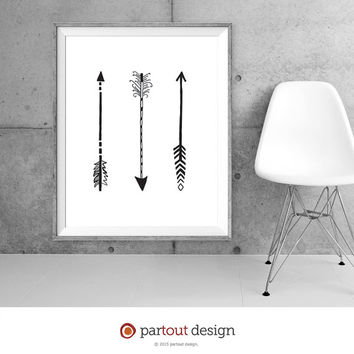 Printable art 3 arrows tribal art minimalist art home decor wall decor rustic art digital art instant download art black and white art print