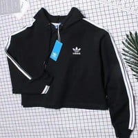 Adidas Cami Crop Hooded Top Sweater Hoodie-1