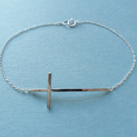 Chic Sleek, Sideway Cross, Sterling Silver chain, Bracelet