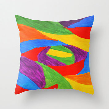Decorative Pillow Cover - throw pillow abstract primary bold colors home decor beautiful hipster unique eye catching 16x16