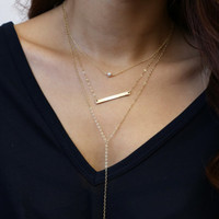 Layering necklace set - with Simple lariat necklace // Skinny name bar necklace // Miniearl necklace