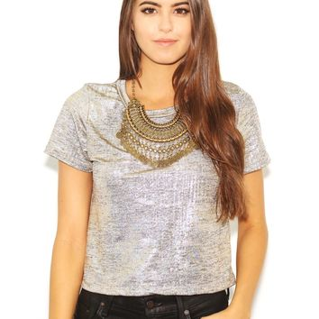 West Coast Wardrobe  Shimmer and Shake Metallic Top in Gold