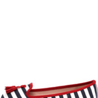 Good Choice Dorothy Navy and Cherry Red Striped Tassel Loafers