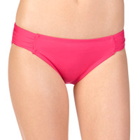Solid Coral Ruched Side Swim Bottoms - Coral