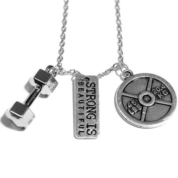 Strong Is Beautiful + Dumbbell + 45lb Plate Charm Necklace - Weightlifting Exercise Crossfit Fitness Charm Lifting Pendant Handmade Gift