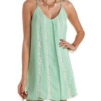Chiffon & Lace Shift Dress by Charlotte Russe - Mint