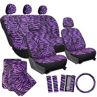 OxGord® 21pc Set of Zebra Print Car Seat Covers w/Deluxe Velour Animal Carpet Floor Mats, Steering Wheel Cover & Shoulder Pads - Airbag Compatible - Front Low Back Buckets - 50/50 or 60/40 Rear Split Bench - Universal Fit for Cars, Truck, SUV, or Van, Pink