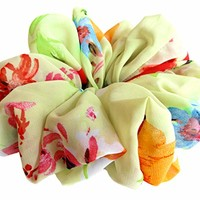 Spring Green Floral Scrunchies for Hair Large Chiffon Fancy Accessories Elastic Hair Ties Ponytail Holder Teen Girls Women