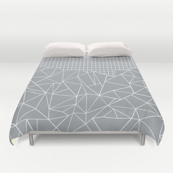 Abstract Outline Grid Grey Duvet Cover by Project M