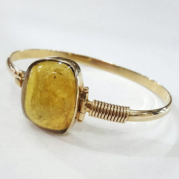Amber 14k gold bangle bracelet gemstone bracelets fine jewelry real dominican ambar gem stone yellow cuff pure genuine gold golden statement