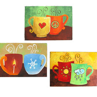 Custom COFFEE MUG Painting, Set of 4 6x6 acrylic canvases, Art for kitchen, personalized