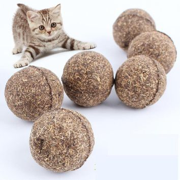 Pet Cat Natural Treat Ball Healthy Safe Toy