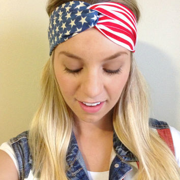 Party in the USA (American Flag) Turban Twist Headband