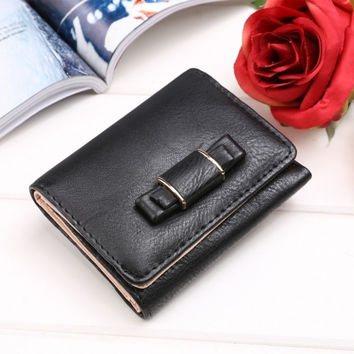 New Women Synthetic Leather Short Wallet Sweet Bow Bifold Button Casual Purse