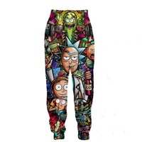 Rick and Morty Print 3D Joggers Pants