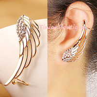 Hot New Noble Luxury Gorgeous Rhinestone Wings Charming Curviplanars Personalized Ear Cuff Clip Earrings For Women Free Shipping