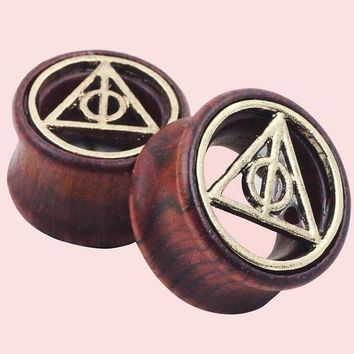 ac PEAPO2Q 2pcs Wood Plugs and Tunnels Piercing Ear Gauges Expander Geometric Natural Wooden Ear Plugs Tunnels For Women Men Body Jewelry