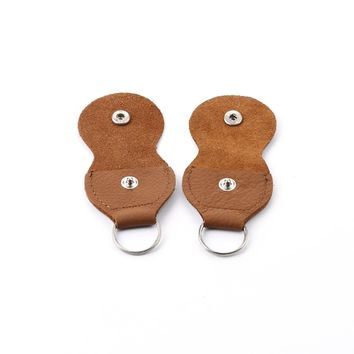 2 Pcs Leather Key Chain Style Guitar Bass Picks Holder+ 1pcs Alice Gift Pick Plectrums Case Bag Collection