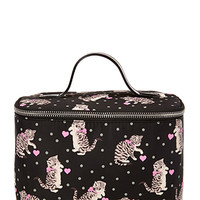 FOREVER 21 Cats & Dots Travel Makeup Case Black/Pink One
