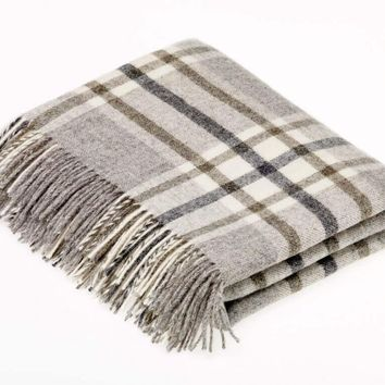 Naturally Bronte Shetland Quality Pure New Wool Grey Arncliffe Throw Blanket