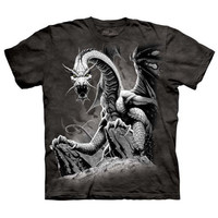 BLACK DRAGON The Mountain Angry Mythical Creature Fantasy Art T-Shirt S-3XL NEW