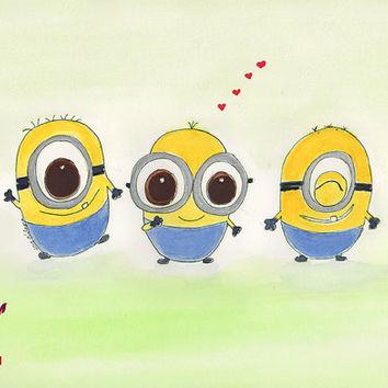 Minion Love. Watercolor. Nursery Art by SoulKidZ