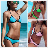 2015 Sexy Neoprene Triangle Bikinis Bandage Swimwear Halter Beachwear Splice Swimsuits Brazilian Bathing Suit Low Waist Free Shipping V18