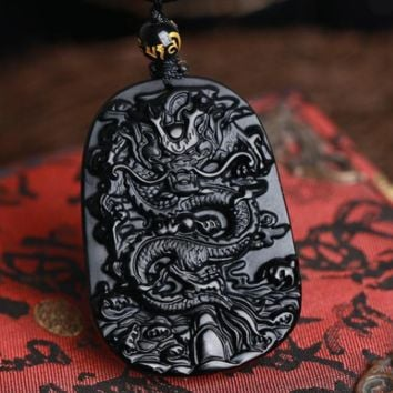 Chinese Black Obsidian dragon Amulet